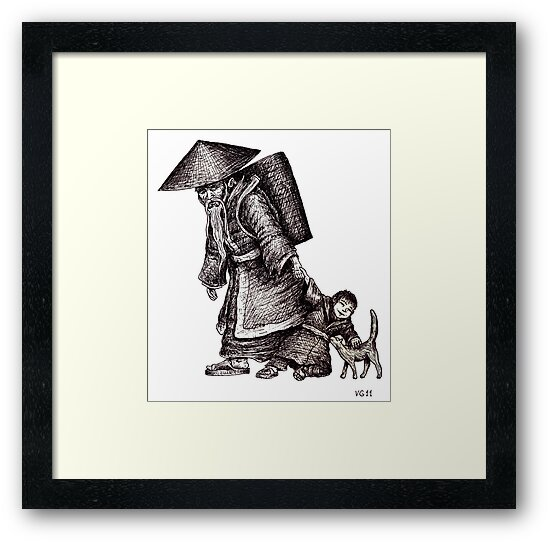 Old Chinese Man with his Grandson black and white pen ink drawing  by Vitaliy Gonikman