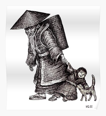 Old Chinese Man with his Grandson black and white pen ink drawing  Poster