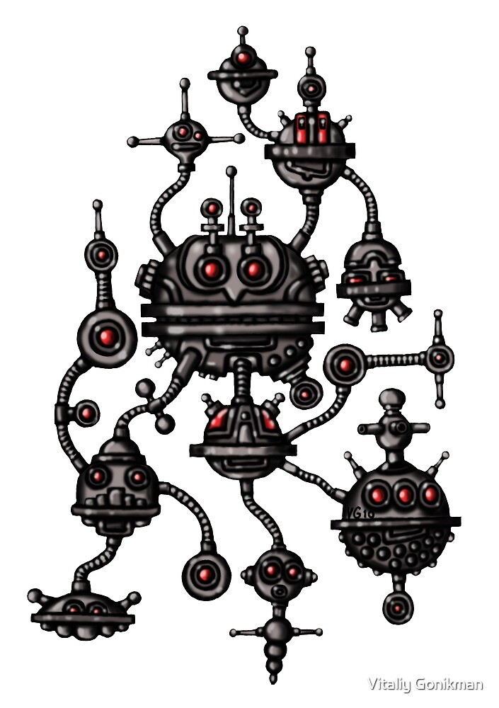 Robotic Life Form cartoon drawing by Vitaliy Gonikman