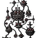Robotic Life Form cartoon drawing by Vitaliy Gonikman