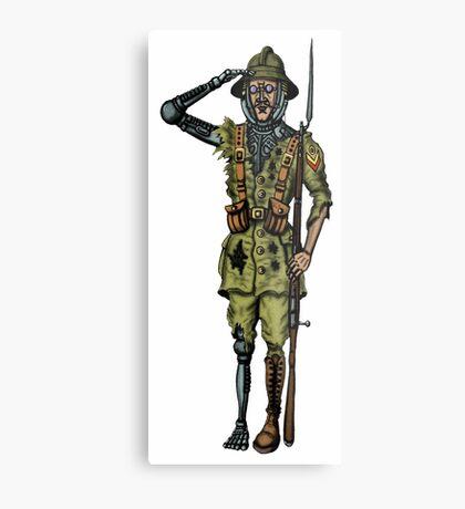 Vintage Cyborg Soldier cartoon drawing Metal Print