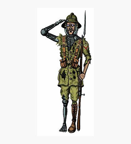 Vintage Cyborg Soldier cartoon drawing Photographic Print