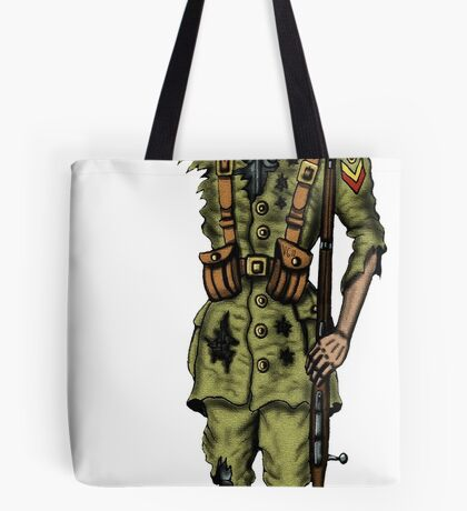 Vintage Cyborg Soldier cartoon drawing Tote Bag
