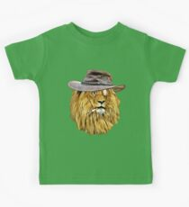 Lion with hat, cigarette, and monocle Kids Tee