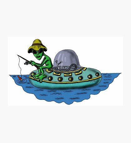 Fishing Alien funny cartoon drawing Photographic Print