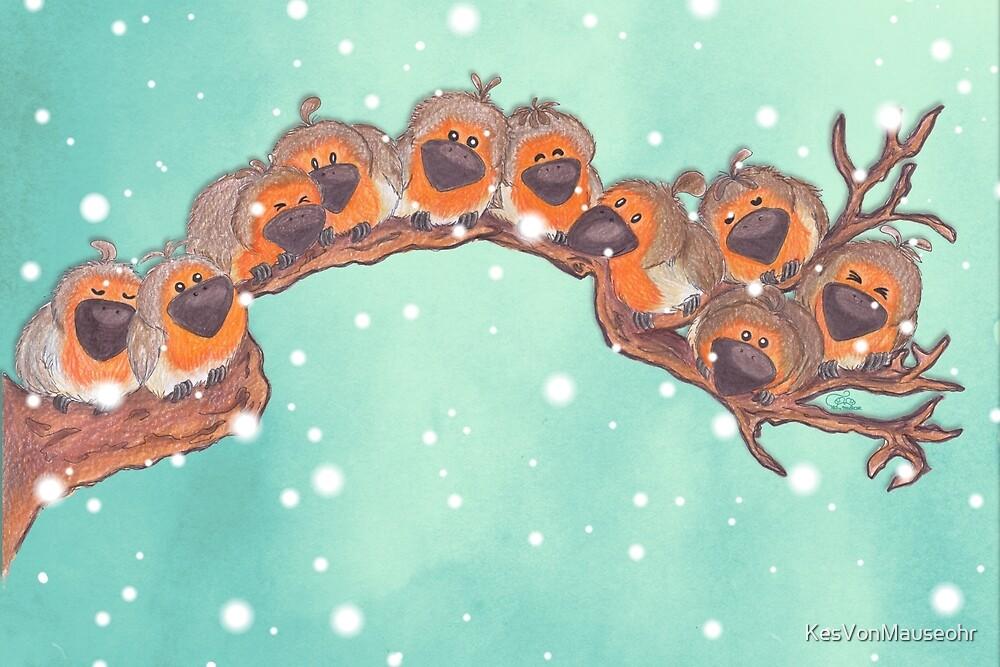 Birdie parade ~ Robins in Snow by KesVonMauseohr