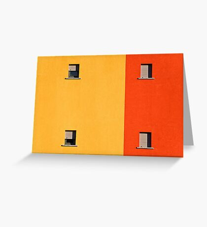 Four tiny windows on a yellow and orange wall Greeting Card