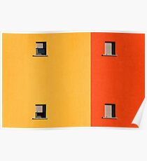 Four tiny windows on a yellow and orange wall Poster