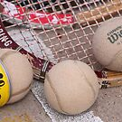 Wood Tennis Rackets and Vintage Balls by Robert Armendariz
