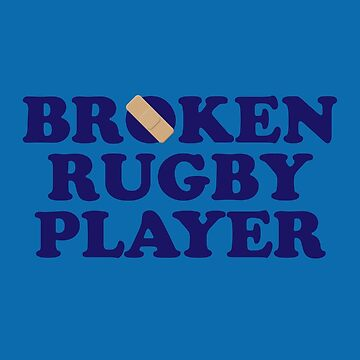 Broken Rugby Player - Navy & Blue by rugbygifts