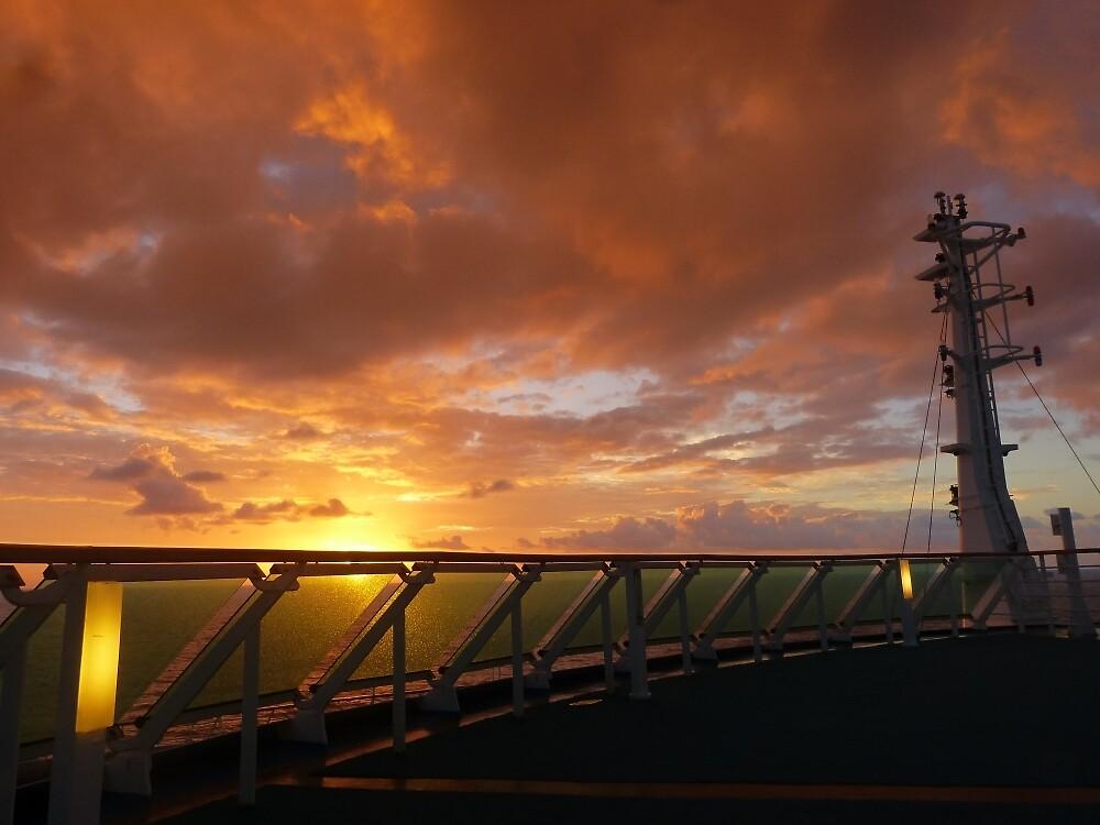Sunrise at sea, off NZ by PhotosByG