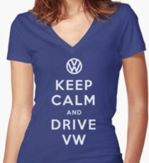 Keep Calm and Drive VW (Version 01) Women's Fitted V-Neck T-Shirt