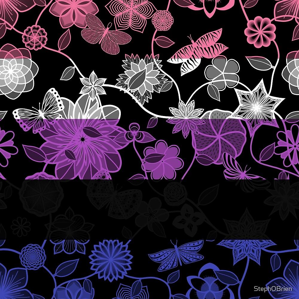 Butterfly Garden, Pride Flag Series - Genderfluid by StephOBrien