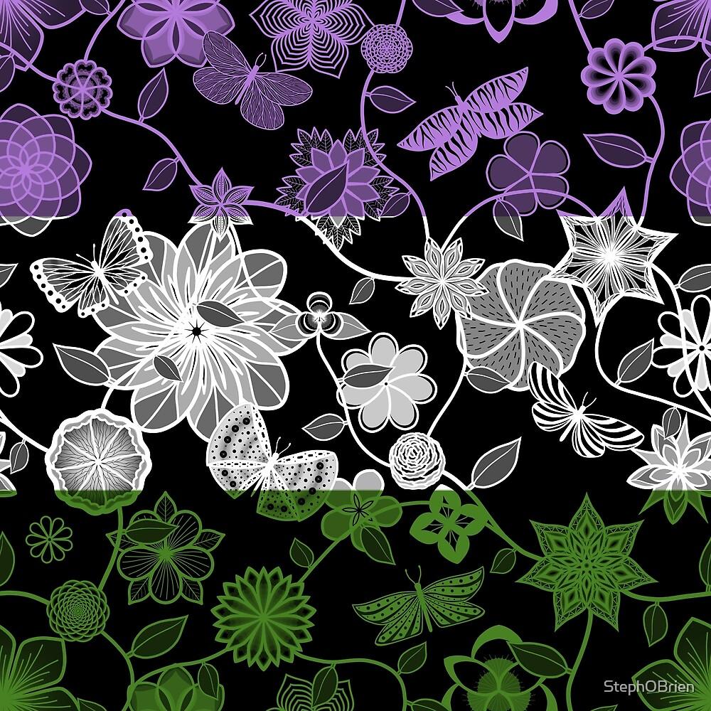 Butterfly Garden, Pride Flag Series - Genderqueer by StephOBrien