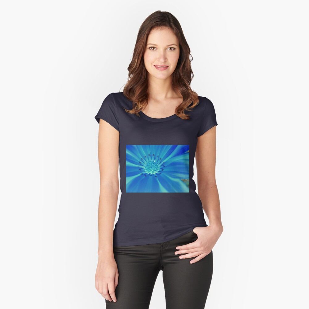 Blue-Moon Flower Women's Fitted Scoop T-Shirt Front