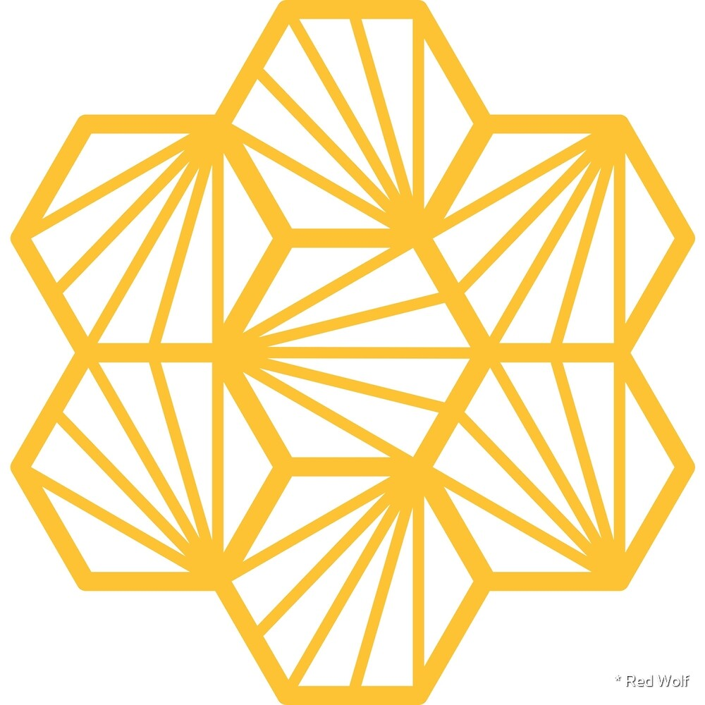 Geometric Pattern: Hexagon Ray: White Yellow by * Red Wolf