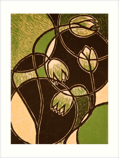 Green Flower Color Reduction Lino Print 85x11 By Amanda Heigel