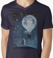 hot air balloon light bulb moon Mens V-Neck T-Shirt
