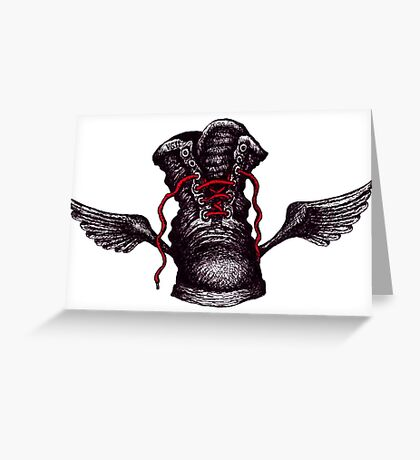 Flying Boot black and white pen ink drawing Greeting Card