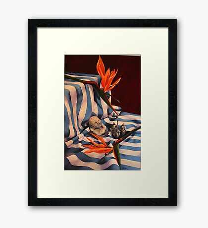 Orange Flowers and Blue Cloth Framed Print