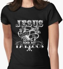JESUS LOVES ME AND MY TATTOOS Women's Fitted T-Shirt
