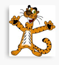 Goofy cartoon tiger Canvas Print