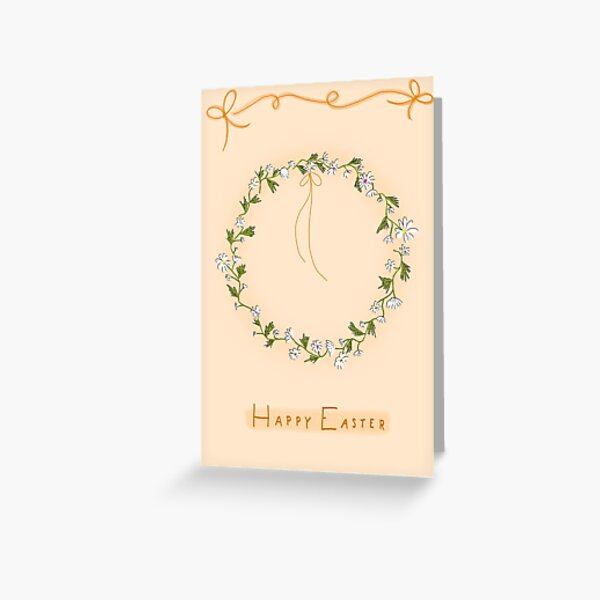 Daisy Wreath Easter Card Peach Background Greeting Card