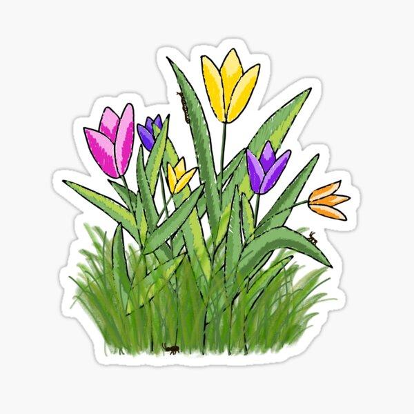 Tulips in Grass Sticker