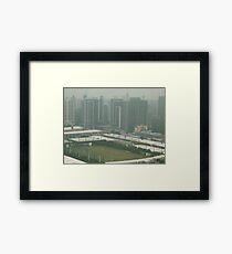 A birds eye view of a soccer pitch Framed Print