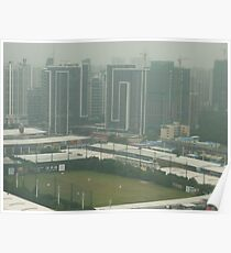 A birds eye view of a soccer pitch Poster