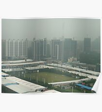 Soccer pitch surrounded by smog Poster