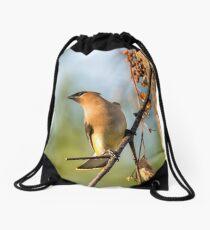 Cedar Waxwing Drawstring Bag
