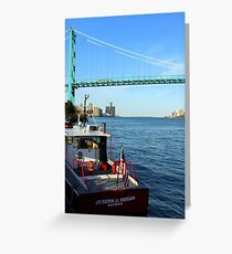 Joseph J Hogan Mail Boat To Freighters On Detroit River Greeting Card