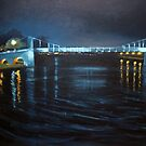 Suspension Bridge by night by Carole Russell