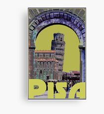 Leaning Tower of Pisa Retro Travel Canvas Print