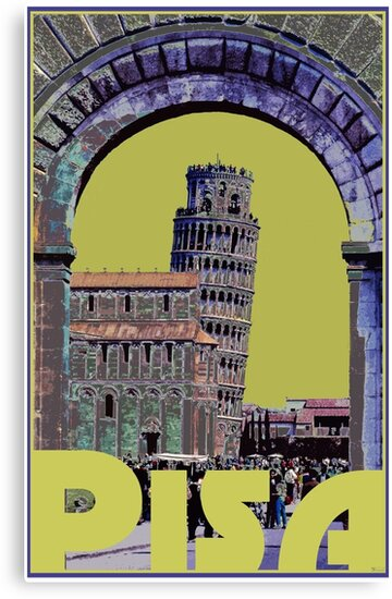 Leaning Tower of Pisa Retro Travel by Trevor McCabe