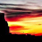 Setting sun over Milwaukee © by Dawn Becker