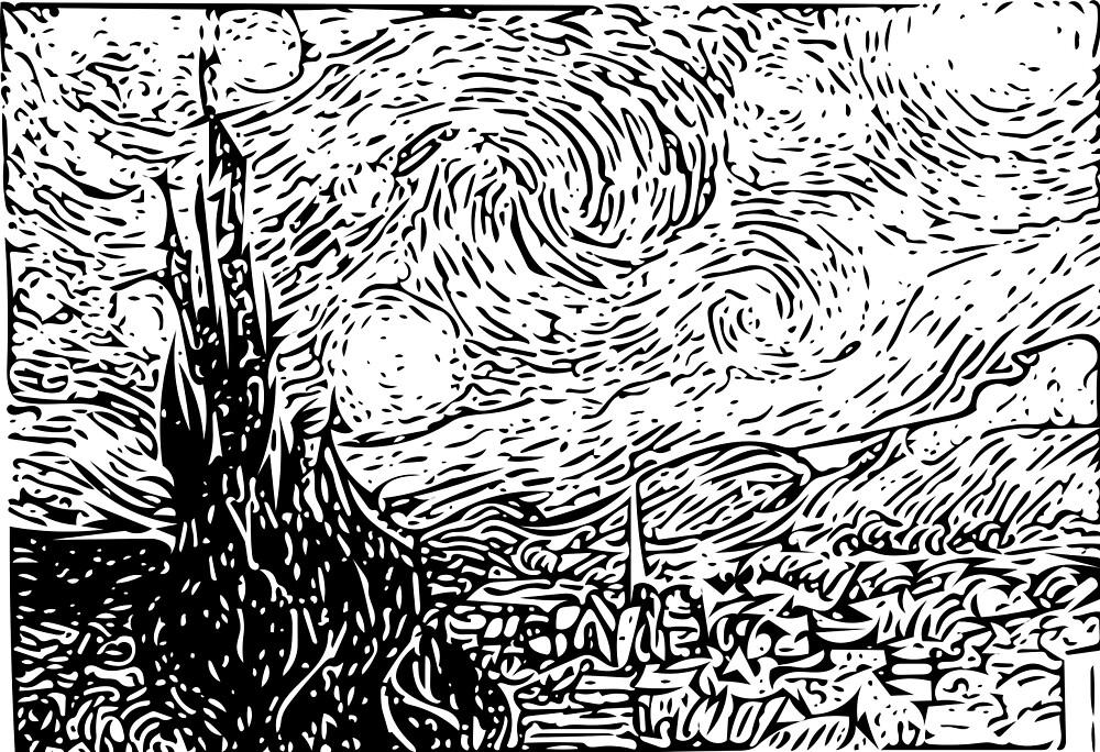 Starry Night Line Drawing Van Gogh by Abbyammeyer