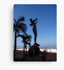 Mermaid playing flute - Sirena tocando flauta, Puerto Vallarta, Mexico Canvas Print