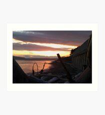 Alki Beach Sun Set Art Print