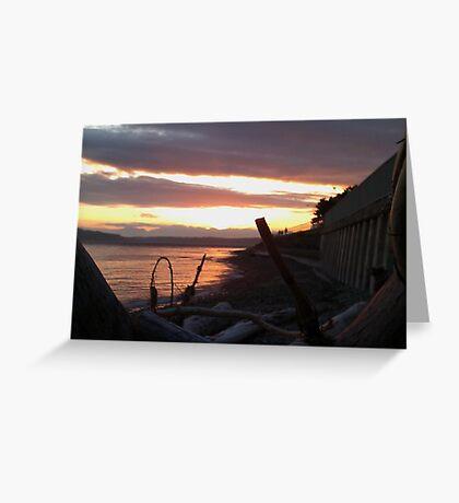 Alki Beach Sun Set Greeting Card