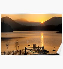 Sunset Over Derwent Lake, Keswick, Cumbria UK Poster