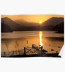 The Autumn Sun Sets on Derwent Lake, Keswick, Cumbria Poster