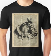 Girl With Horse Illustration over vintage dictionary page Unisex T-Shirt