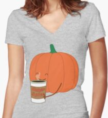 Human Spice Latte Women's Fitted V-Neck T-Shirt