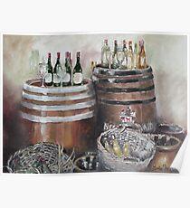 Barrels, Baskets and Bottles - Oil on Canvas Poster