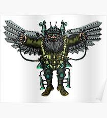 Flying Man funny cartoon drawing Poster