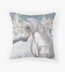 Winter Snow .. the tale of a wild horse Throw Pillow