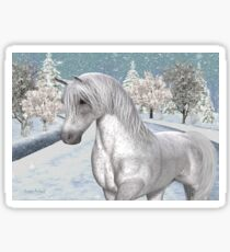 Winter Snow .. the tale of a wild horse Sticker