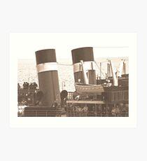 Waverley Paddle Steamer Funnels in Sepia Art Print